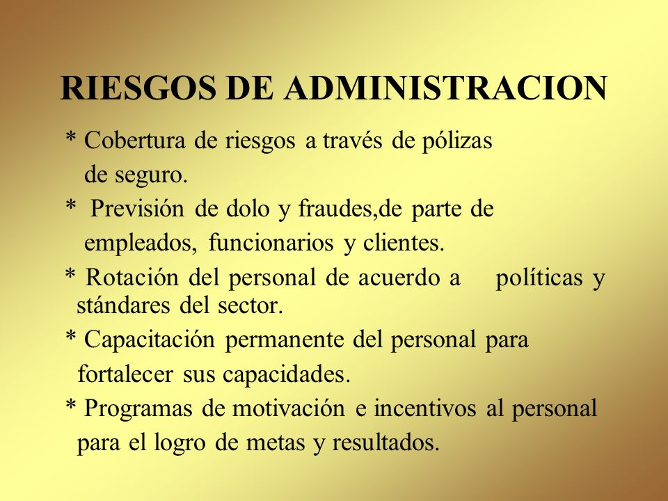 RIESGOS DE ADMINISTRACION