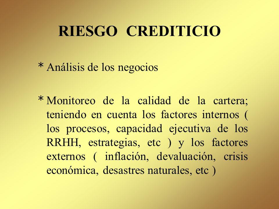RIESGO CREDITICIO Análisis de los negocios