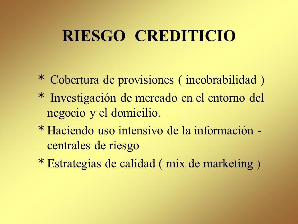 RIESGO CREDITICIO Cobertura de provisiones ( incobrabilidad )