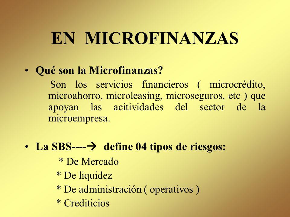 EN MICROFINANZAS Qué son la Microfinanzas