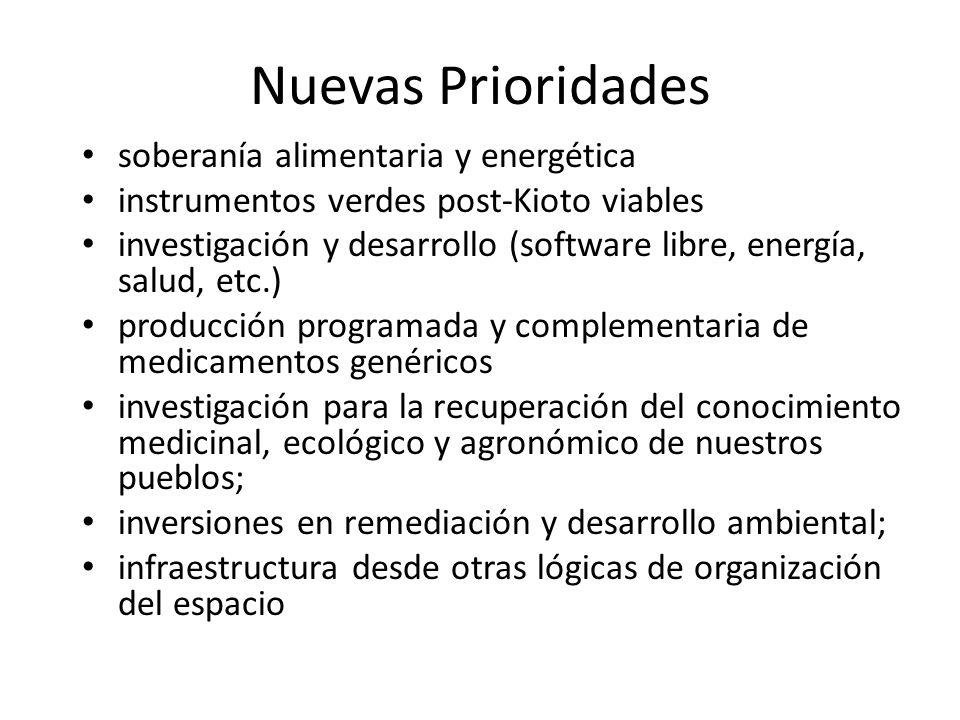 Nuevas Prioridades soberanía alimentaria y energética