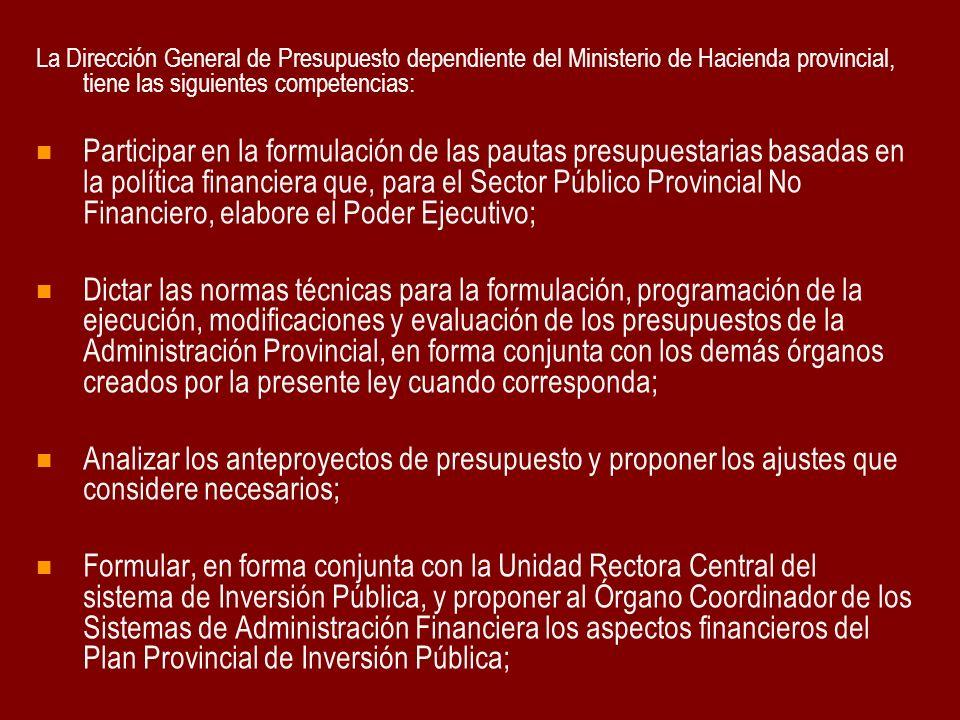 La Dirección General de Presupuesto dependiente del Ministerio de Hacienda provincial, tiene las siguientes competencias: