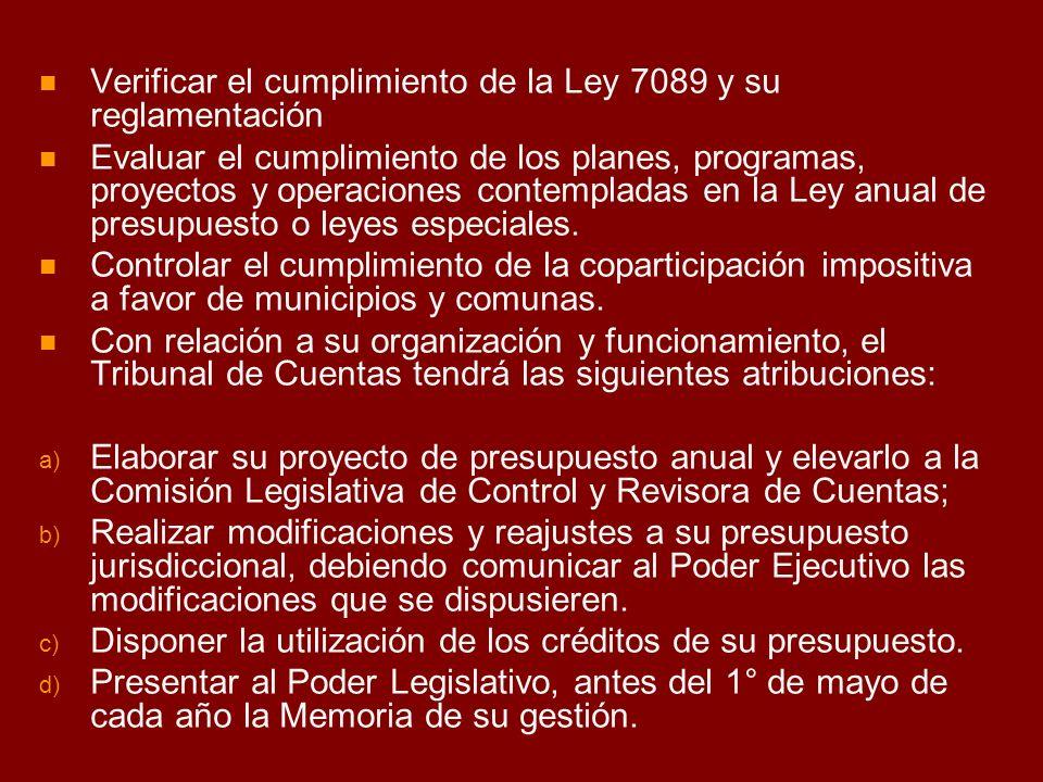 Verificar el cumplimiento de la Ley 7089 y su reglamentación