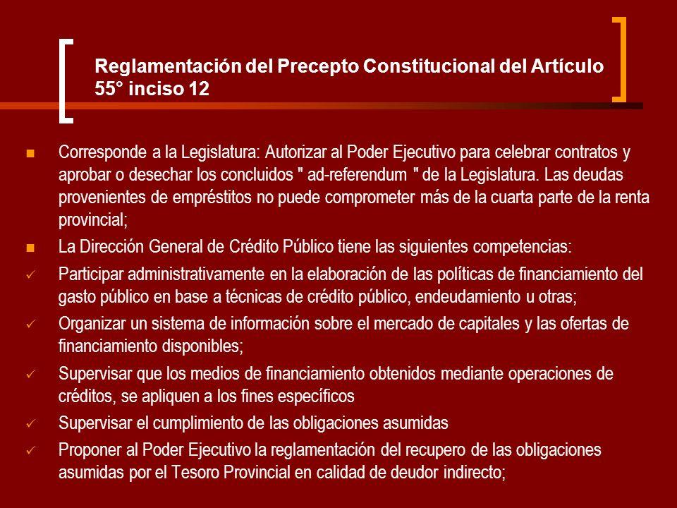 Reglamentación del Precepto Constitucional del Artículo 55° inciso 12