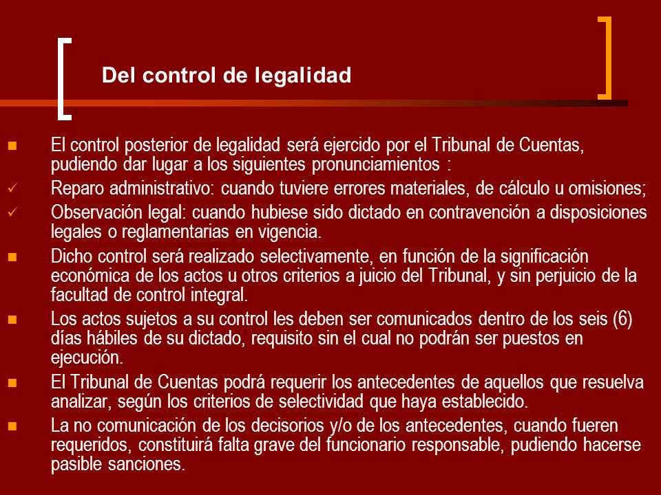 Del control de legalidad