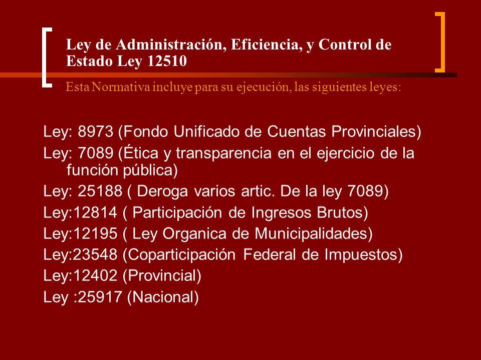Ley de Administración, Eficiencia, y Control de Estado Ley 12510 Esta Normativa incluye para su ejecución, las siguientes leyes: