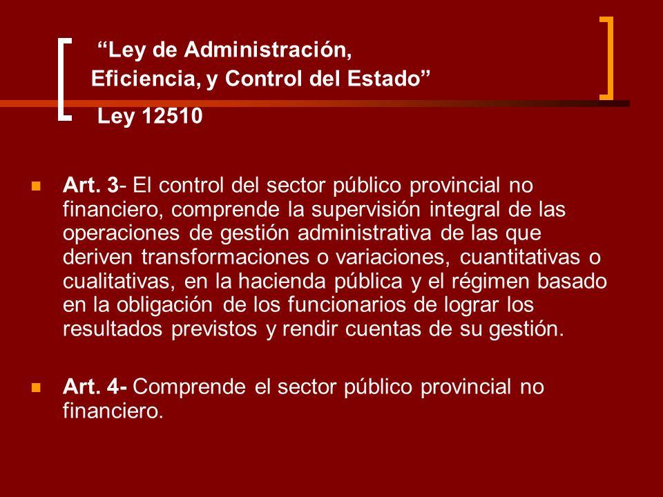 Ley de Administración, Eficiencia, y Control del Estado Ley 12510