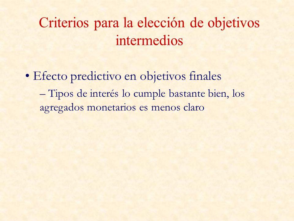 Criterios para la elección de objetivos intermedios
