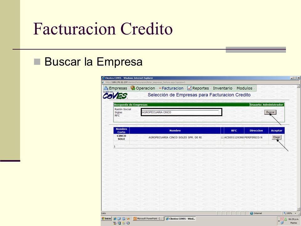 Facturacion Credito Buscar la Empresa