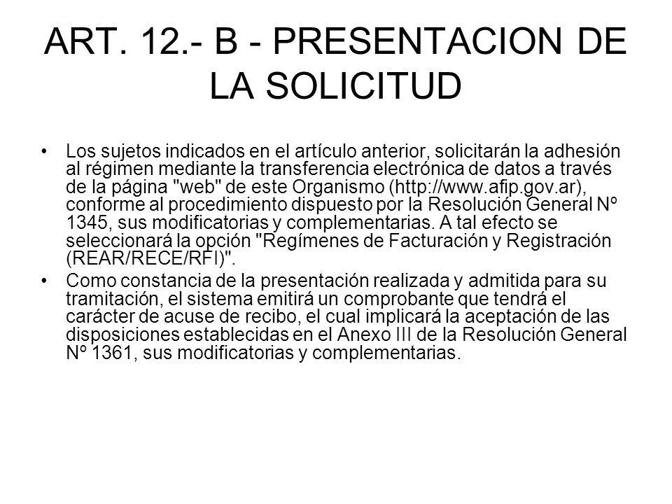 ART. 12.- B - PRESENTACION DE LA SOLICITUD
