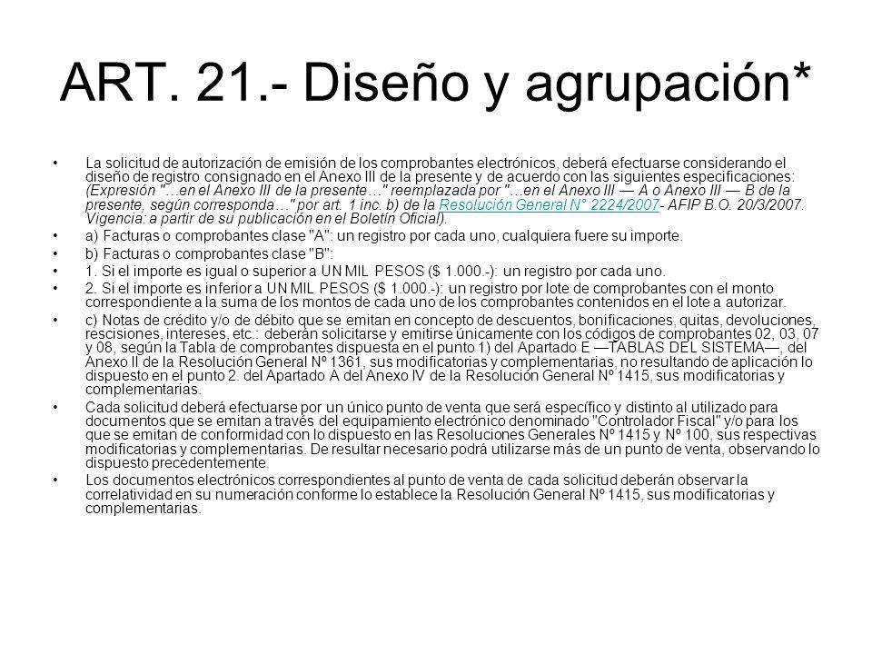 ART. 21.- Diseño y agrupación*