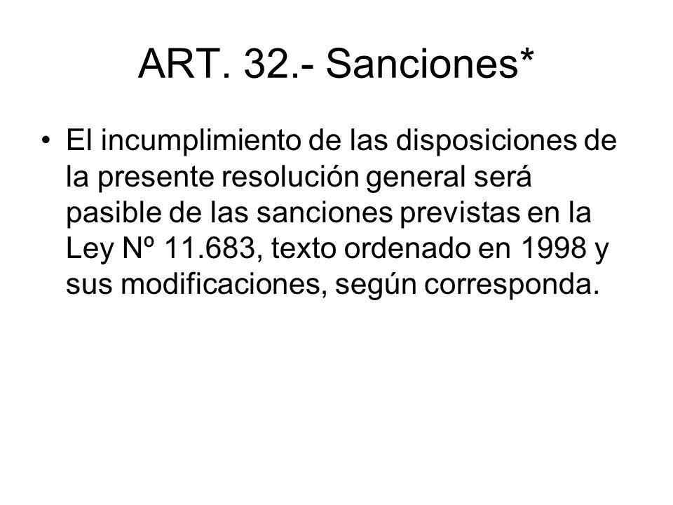 ART. 32.- Sanciones*