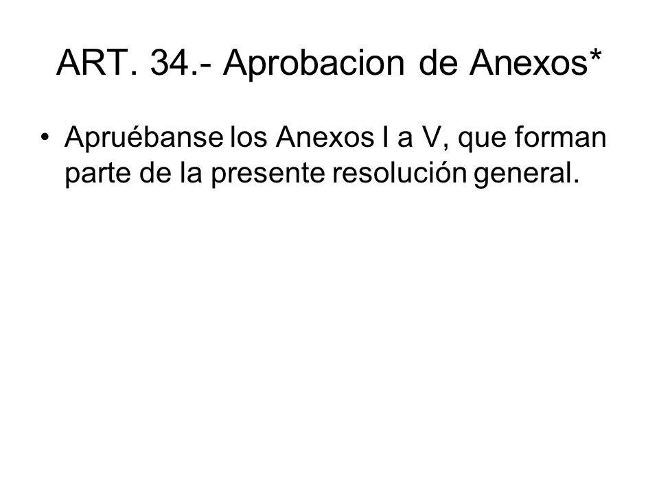 ART. 34.- Aprobacion de Anexos*