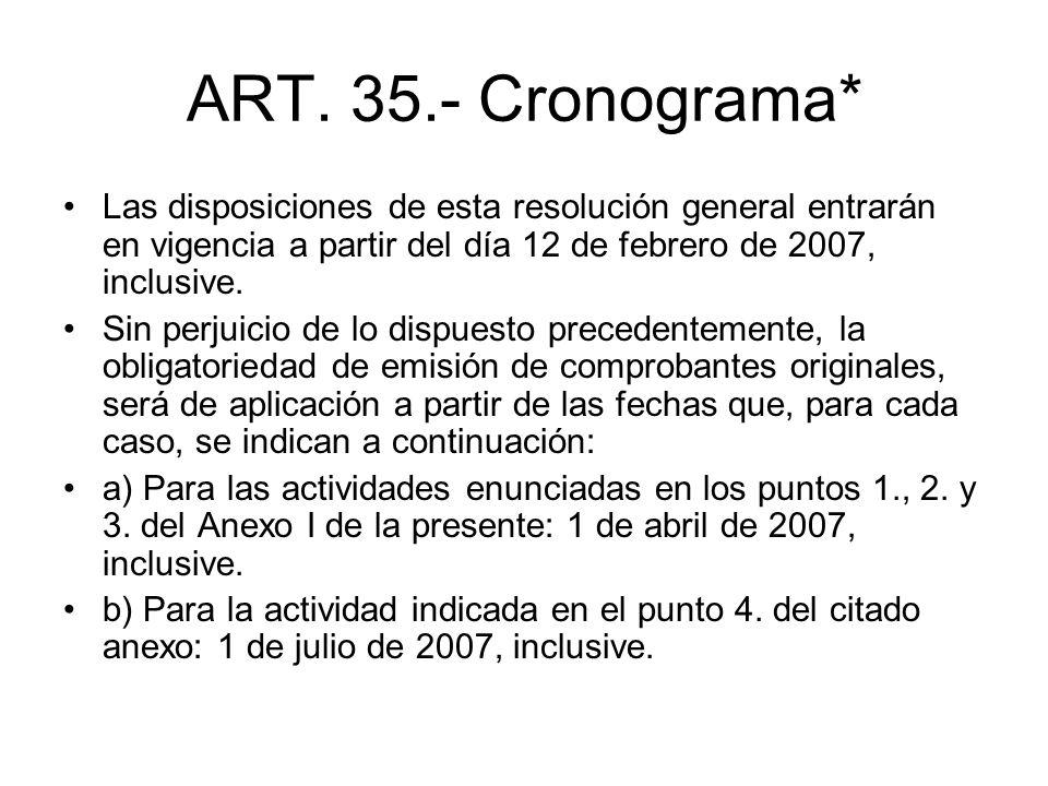 ART. 35.- Cronograma* Las disposiciones de esta resolución general entrarán en vigencia a partir del día 12 de febrero de 2007, inclusive.