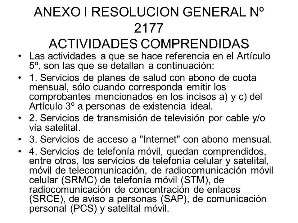ANEXO I RESOLUCION GENERAL Nº 2177 ACTIVIDADES COMPRENDIDAS