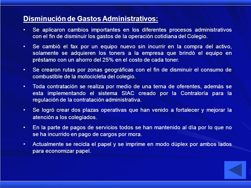 Disminución de Gastos Administrativos: