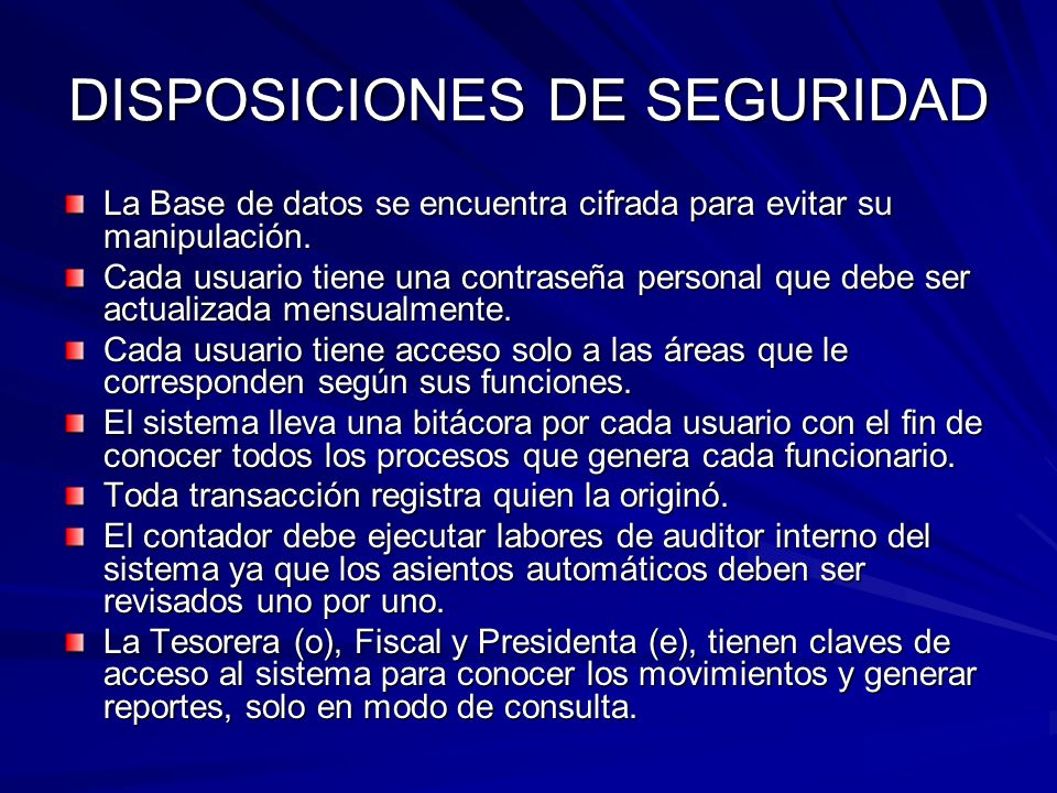 DISPOSICIONES DE SEGURIDAD