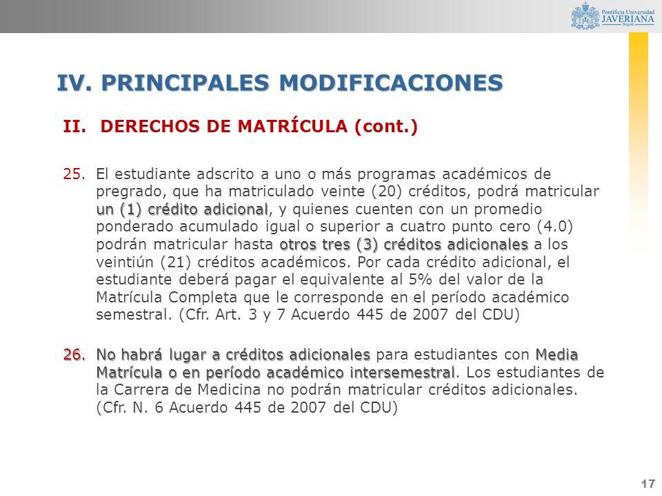 IV. PRINCIPALES MODIFICACIONES