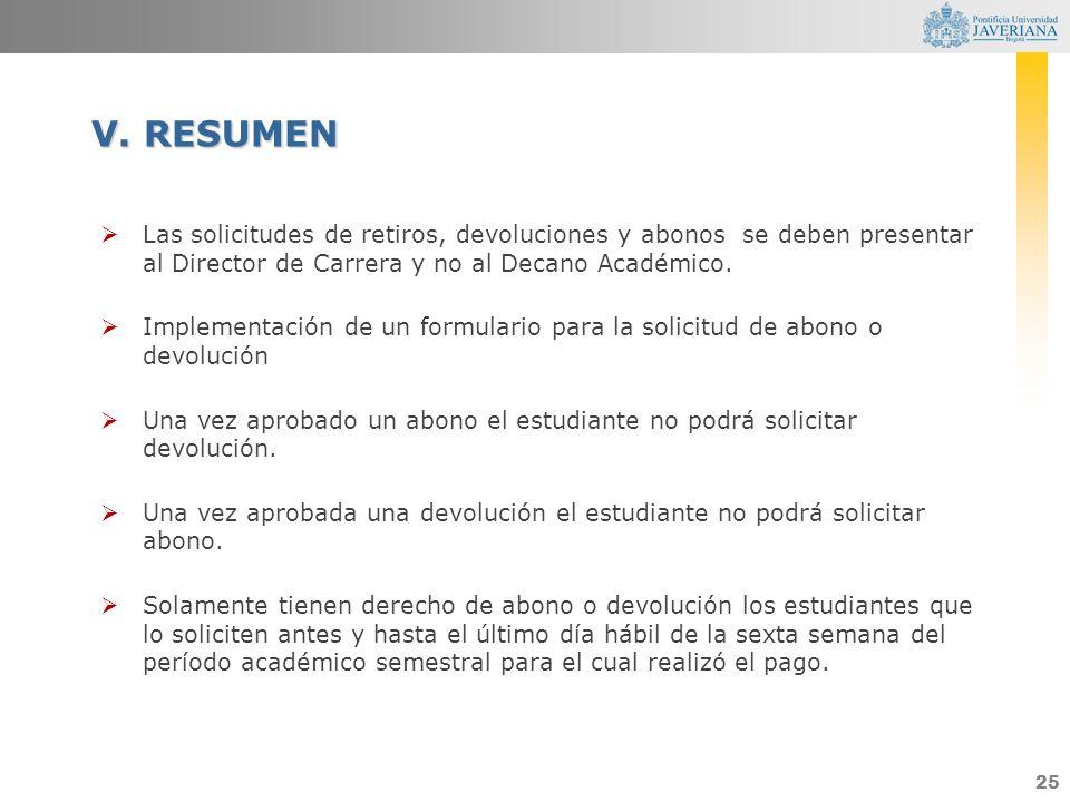 V. RESUMEN Las solicitudes de retiros, devoluciones y abonos se deben presentar al Director de Carrera y no al Decano Académico.