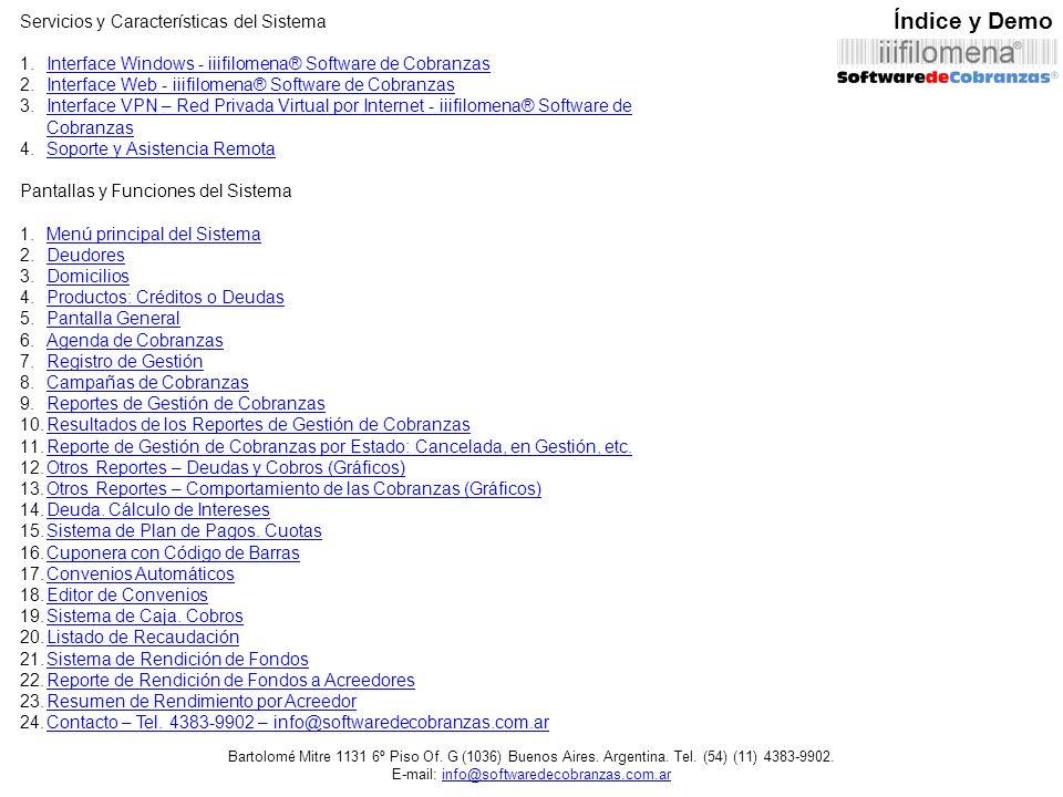 Índice y Demo Servicios y Características del Sistema