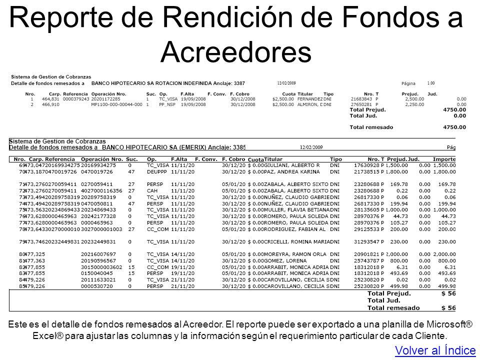 Reporte de Rendición de Fondos a Acreedores