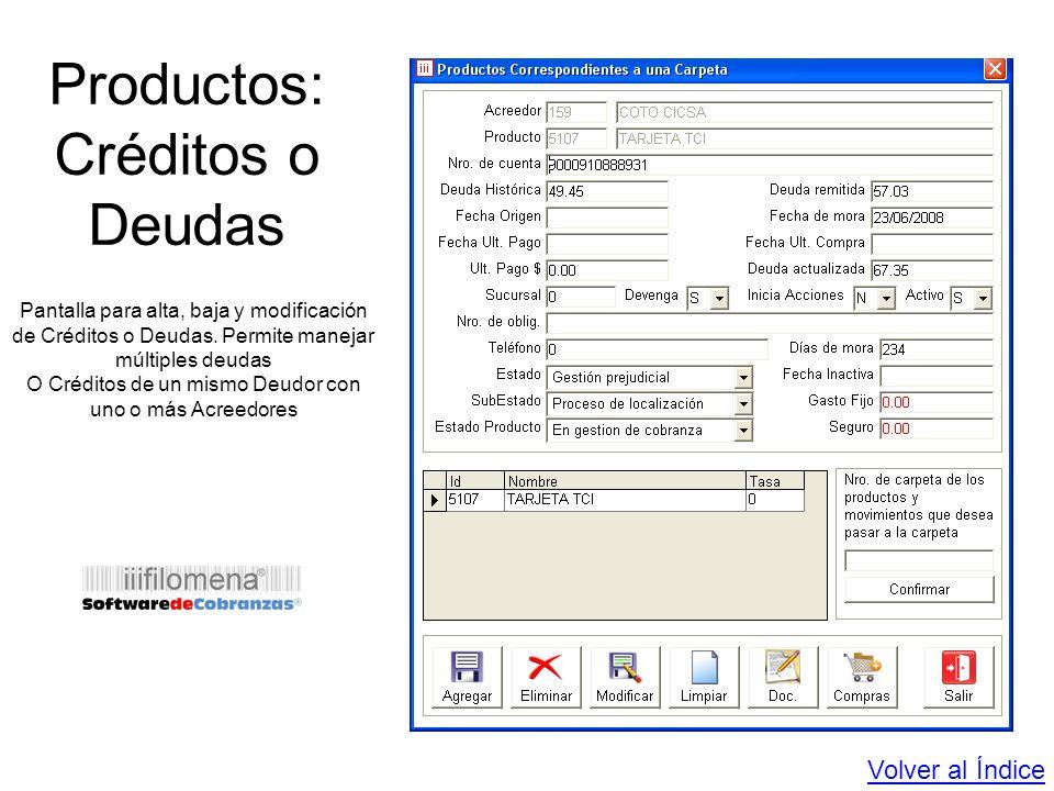 Productos: Créditos o Deudas
