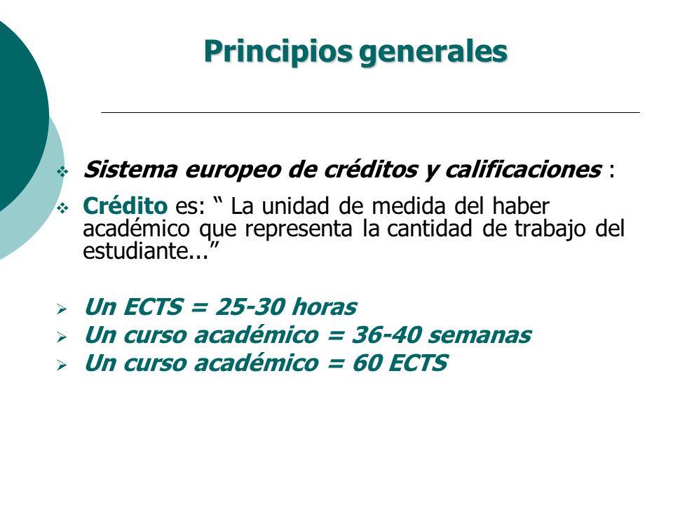 Principios generales Sistema europeo de créditos y calificaciones :
