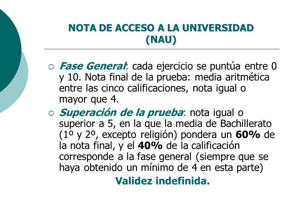 NOTA DE ACCESO A LA UNIVERSIDAD (NAU)