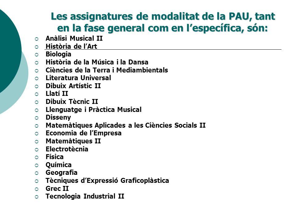 Les assignatures de modalitat de la PAU, tant en la fase general com en l'específica, són: