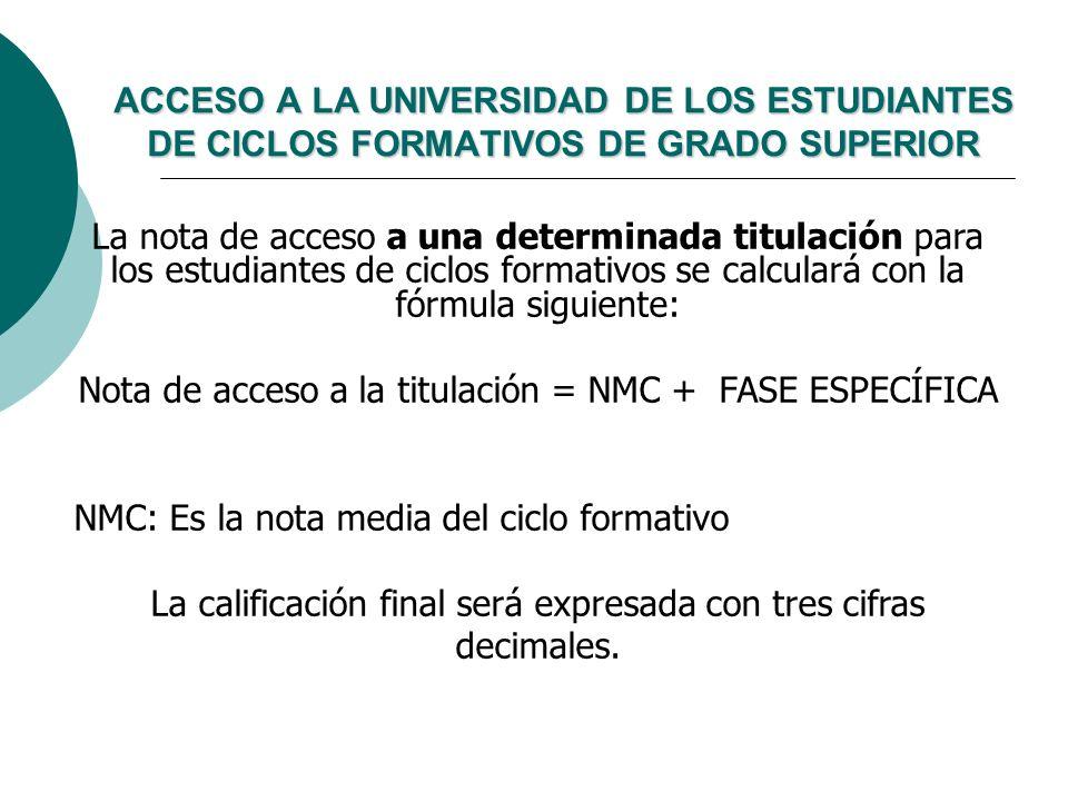 Nota de acceso a la titulación = NMC + FASE ESPECÍFICA