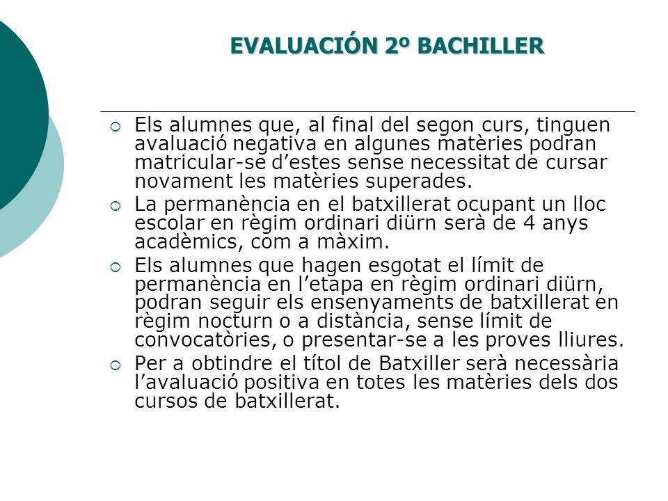 EVALUACIÓN 2º BACHILLER