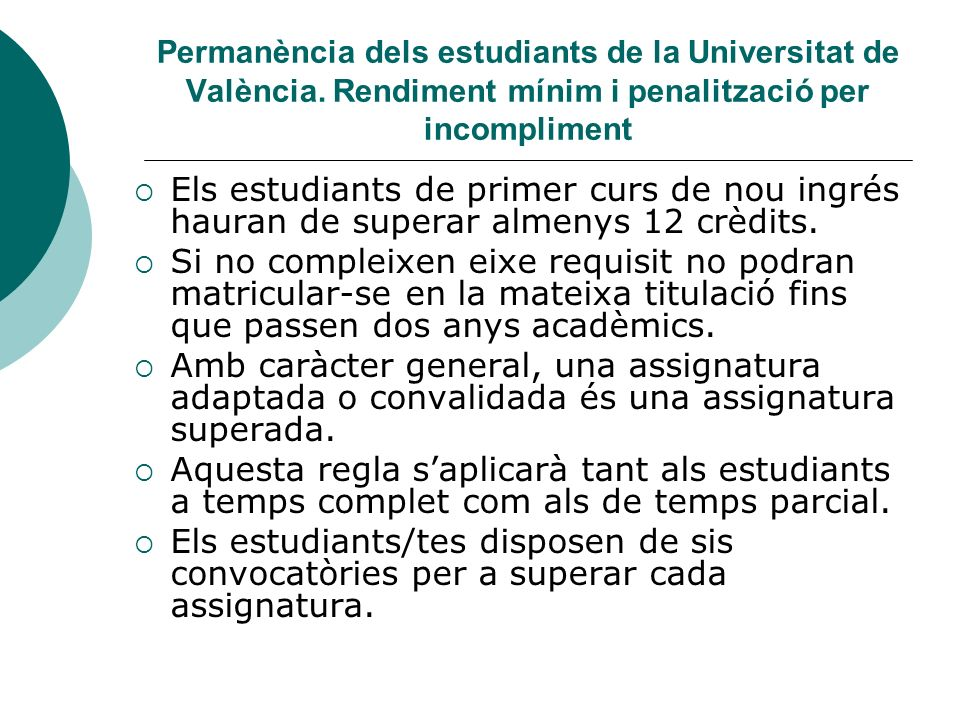 Permanència dels estudiants de la Universitat de València