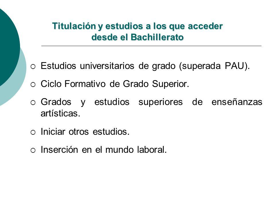 Titulación y estudios a los que acceder desde el Bachillerato