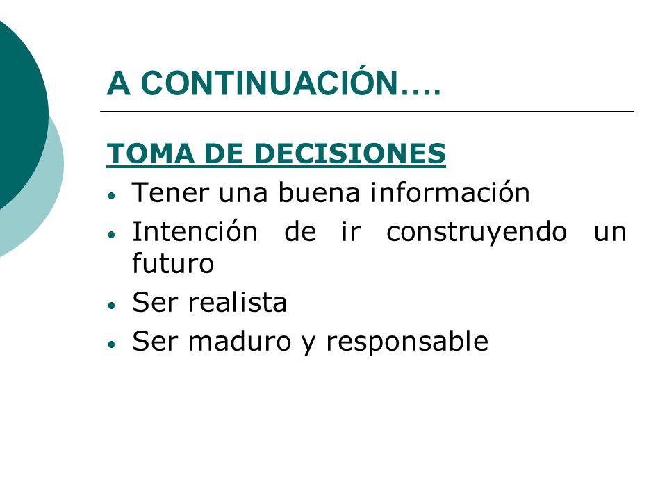 A CONTINUACIÓN…. TOMA DE DECISIONES Tener una buena información