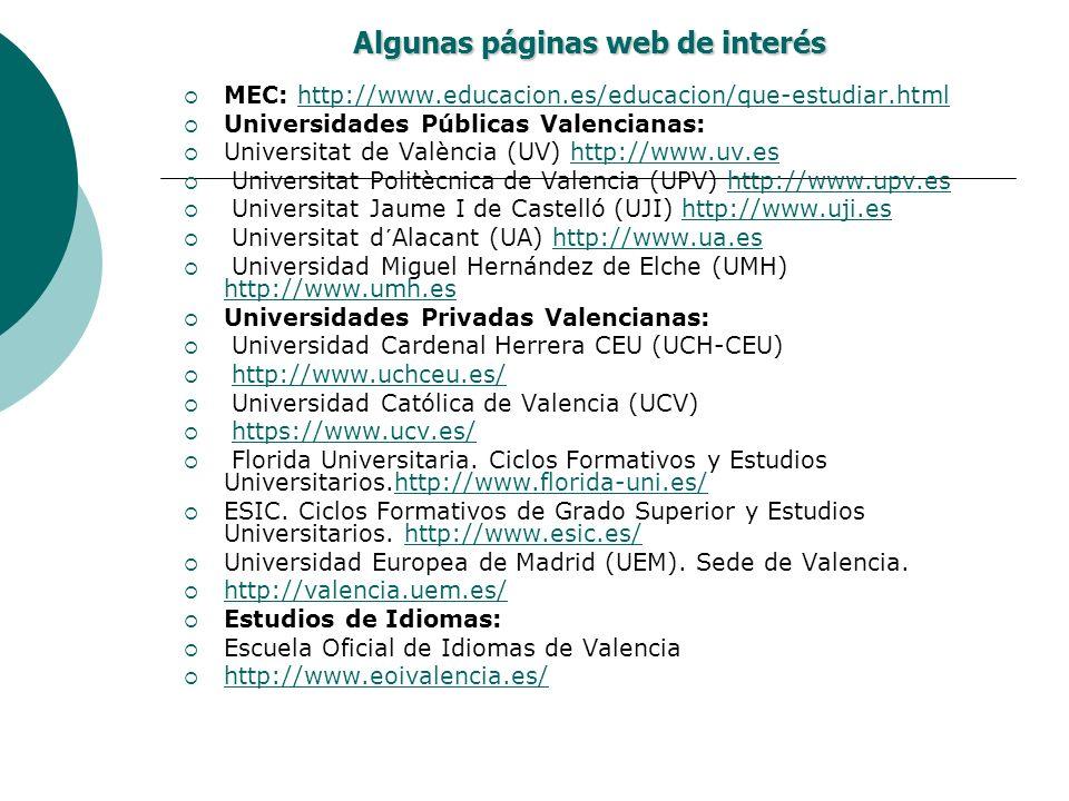 Algunas páginas web de interés