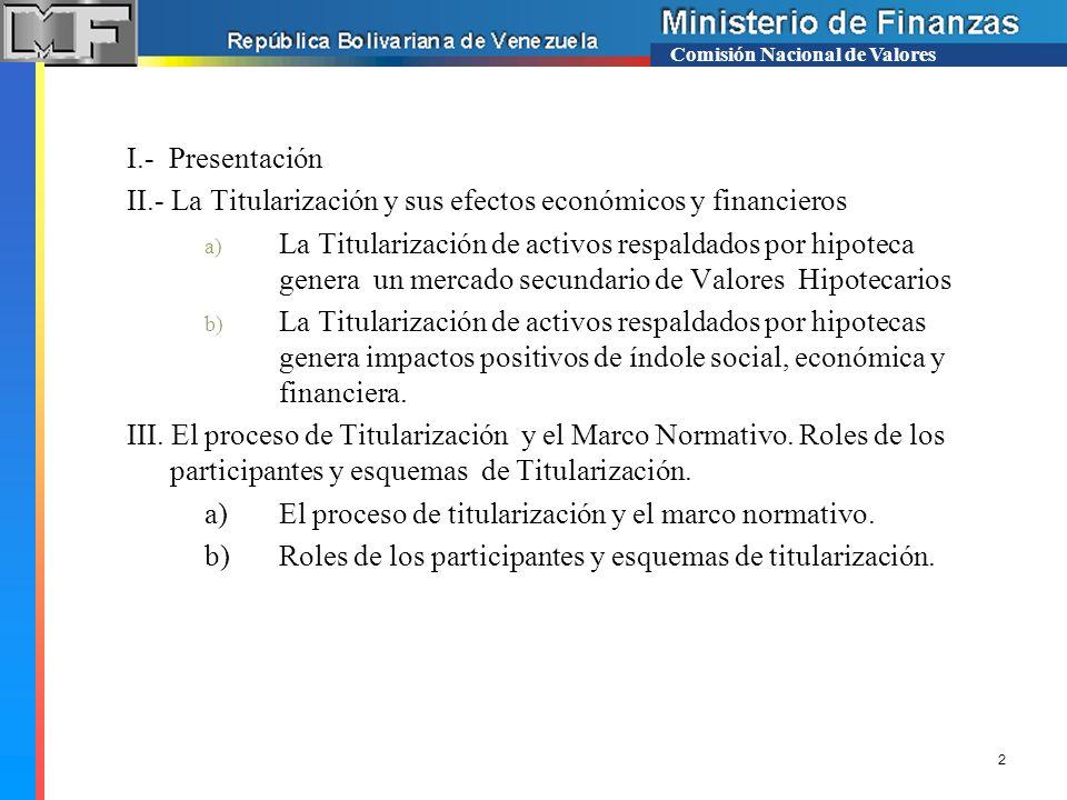 II.- La Titularización y sus efectos económicos y financieros