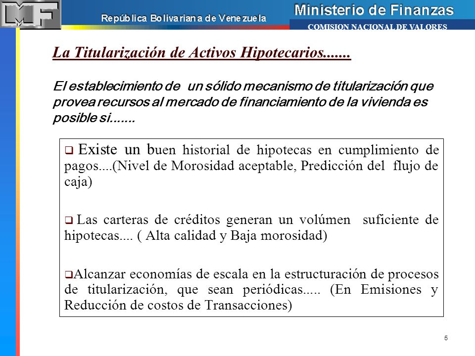 La Titularización de Activos Hipotecarios.......