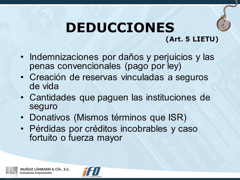 DEDUCCIONES (Art. 5 LIETU)