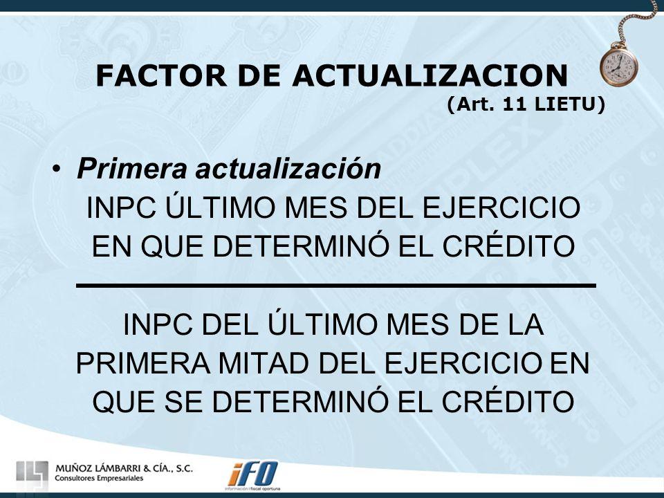 FACTOR DE ACTUALIZACION (Art. 11 LIETU)