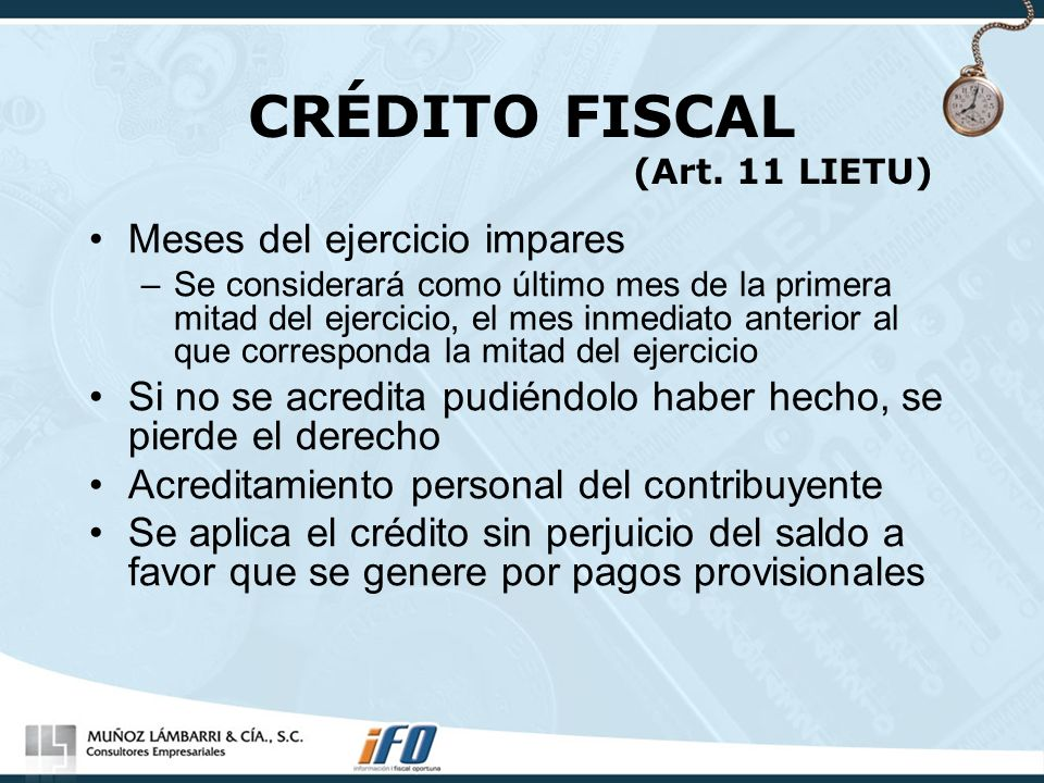 CRÉDITO FISCAL (Art. 11 LIETU)