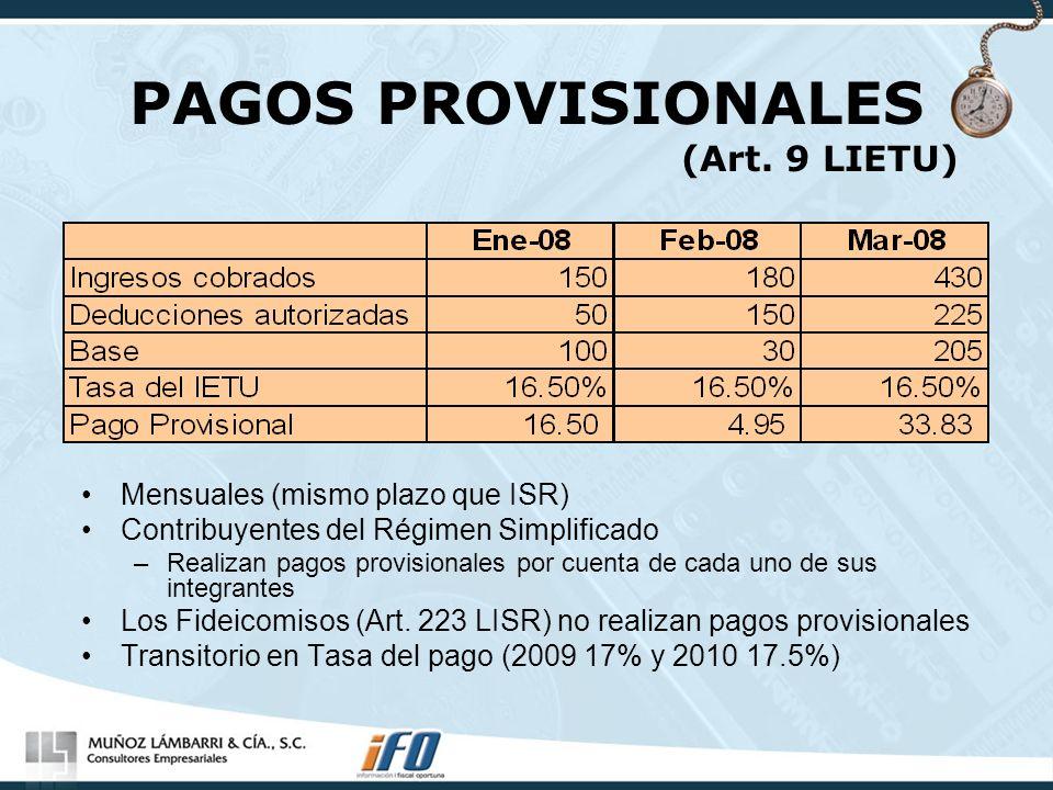 PAGOS PROVISIONALES (Art. 9 LIETU)