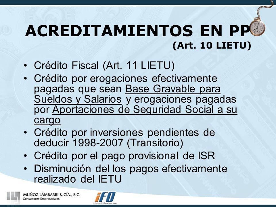 ACREDITAMIENTOS EN PP (Art. 10 LIETU)