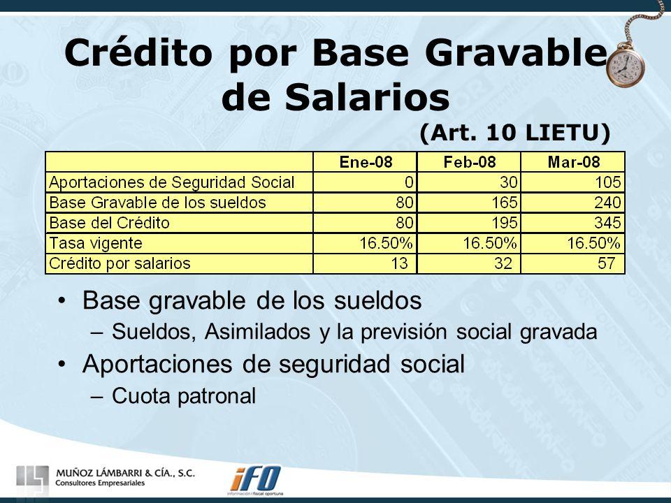 Crédito por Base Gravable de Salarios (Art. 10 LIETU)