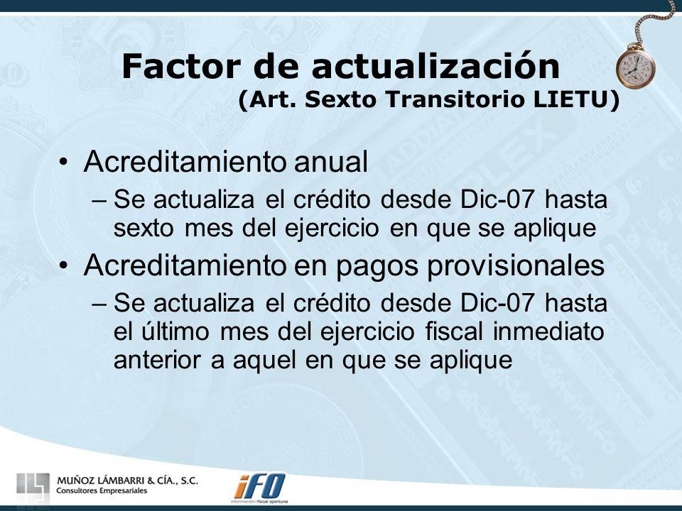 Factor de actualización (Art. Sexto Transitorio LIETU)