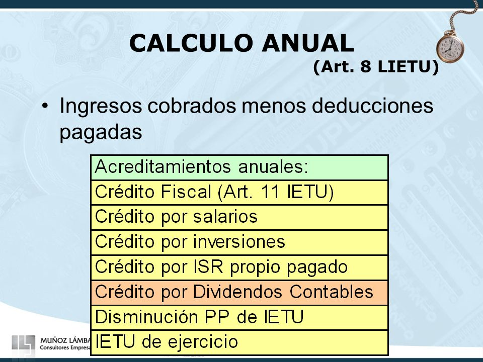 CALCULO ANUAL (Art. 8 LIETU)