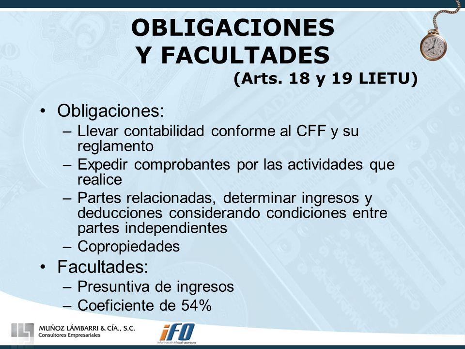 OBLIGACIONES Y FACULTADES (Arts. 18 y 19 LIETU)