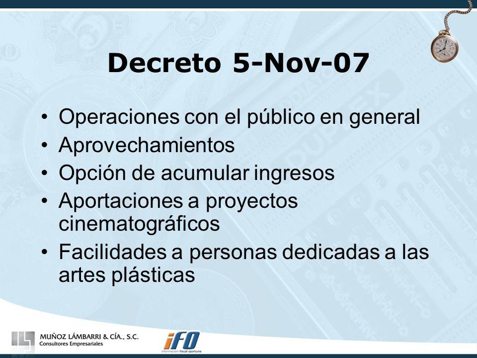 Decreto 5-Nov-07 Operaciones con el público en general