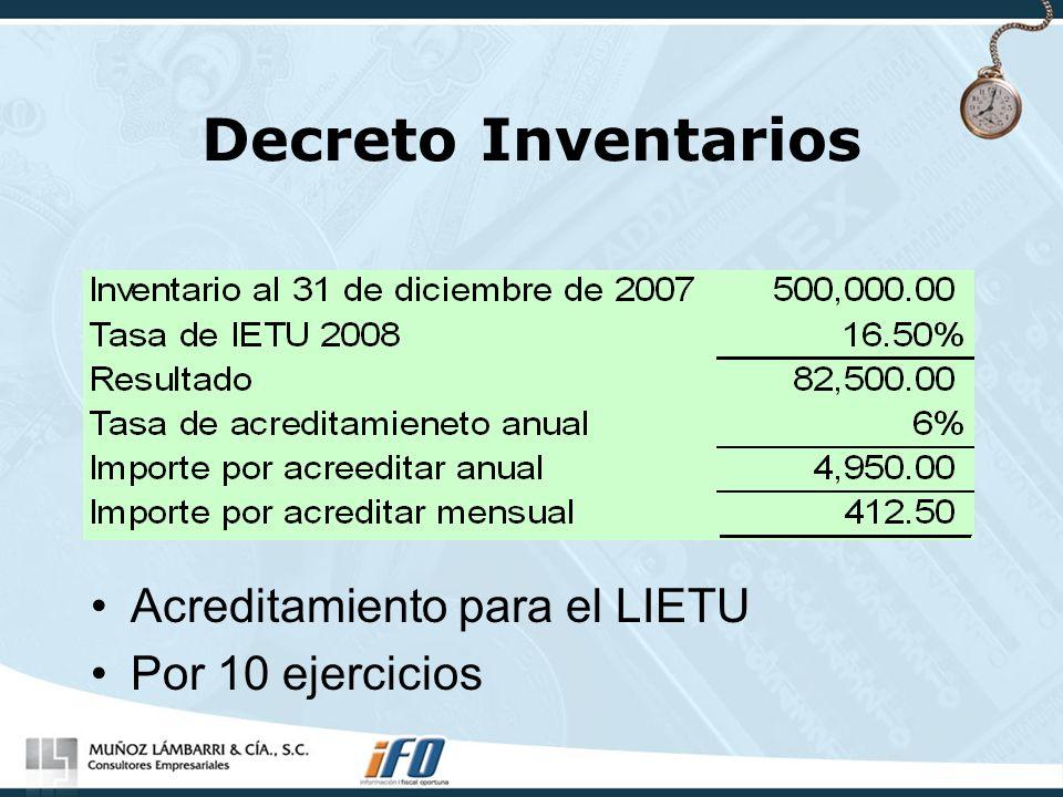 Decreto Inventarios Acreditamiento para el LIETU Por 10 ejercicios