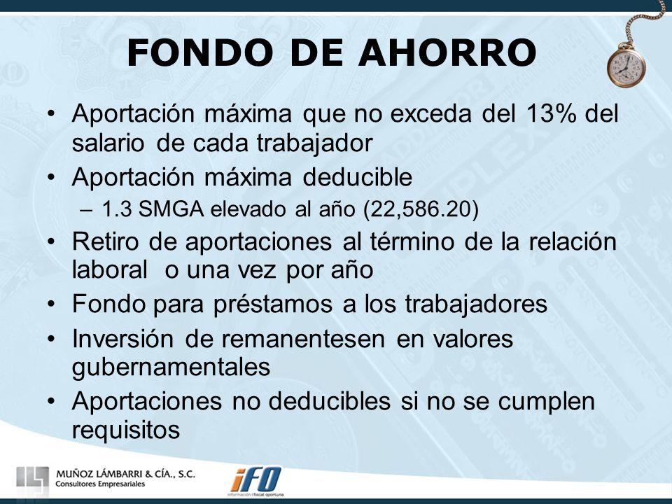 FONDO DE AHORRO Aportación máxima que no exceda del 13% del salario de cada trabajador. Aportación máxima deducible.
