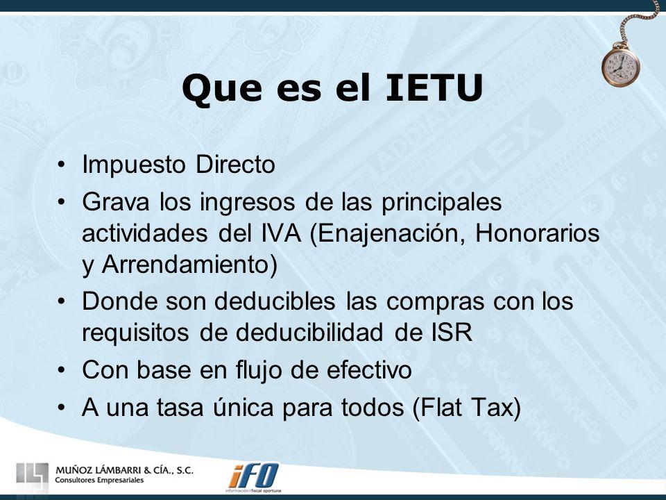 Que es el IETU Impuesto Directo